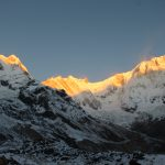 Sunrise over the Machapuchare mountain view from Annapurna base camp in Nepal. Annapurna Sanctuary Trek is most popular trek destination of Annapurna region.