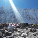 Sunlight Over the Larke Pass 5106 meters high peak at the Manaslu trekking path-Manaslu trek.