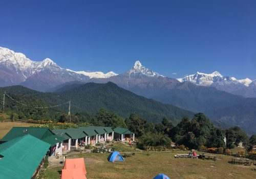 Annapurna south and Hunchuli Mountain view seen from Australian Camp Nepal, during North Nepal's Sarangkot Dhampus Australian camp hiking package.